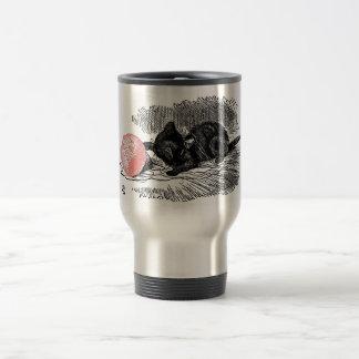 Kitten and Pink Yarn 15 Oz Stainless Steel Travel Mug
