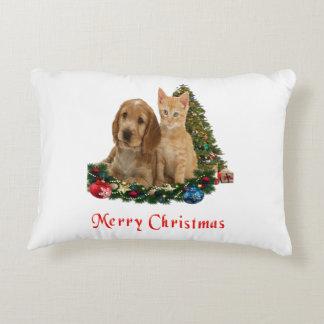 Kitten and puppy merry Christmas pillow