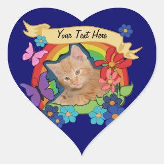 Kitten and Rainbow Heart Stickers