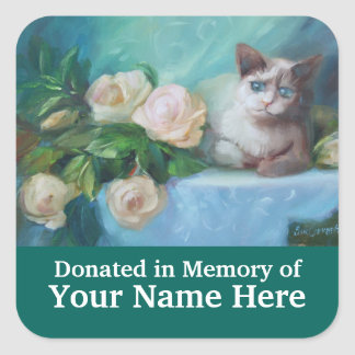 Kitten and Roses Donation Bookplate Square Sticker