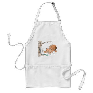 Kitten and Squirrel Play Chase- Chase Adult Apron
