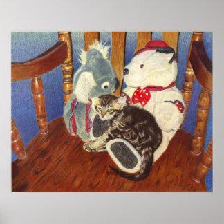 Kitten and Stuffed Animal Art Prints Poster