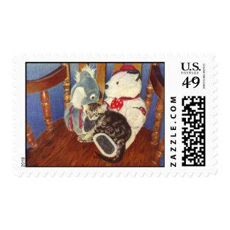 Kitten and Stuffed Animal Postage Stamp