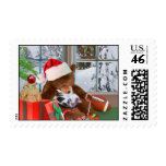 Kitten and Teddy Bear Christmas Dreams Postage