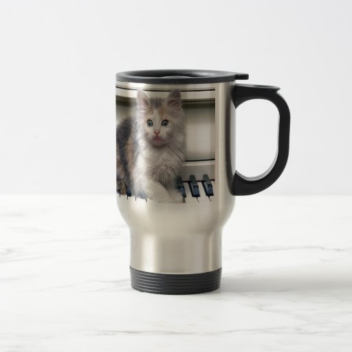 Kitten And The Piano 15 Oz Stainless Steel Travel Mug