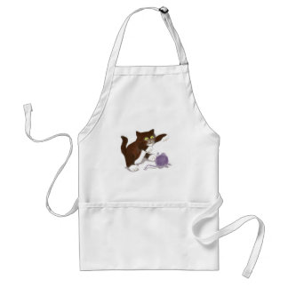 Kitten and the Purple Ball of Yarn Adult Apron