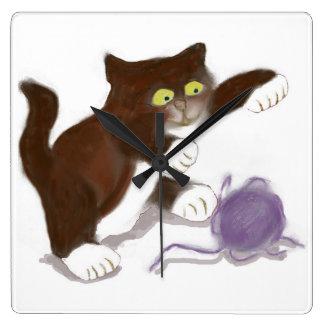 Kitten and the Purple Ball of Yarn Square Wallclocks