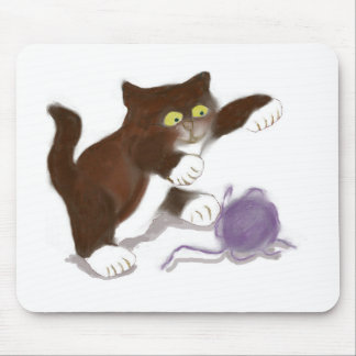 Kitten and the Purple Ball of Yarn Mouse Pad