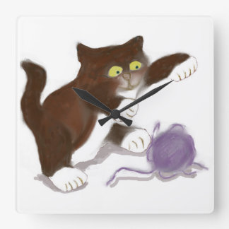 Kitten and the Purple Ball of Yarn Square Wall Clock