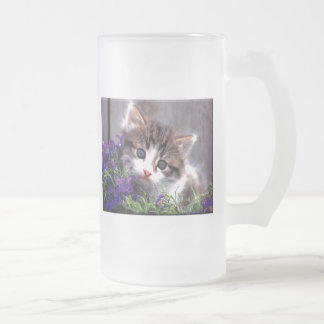 Kitten And Violets Frosted Glass Beer Mug