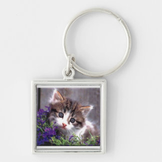 Kitten And Violets Keychain