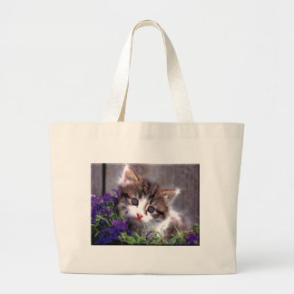Kitten And Violets Large Tote Bag