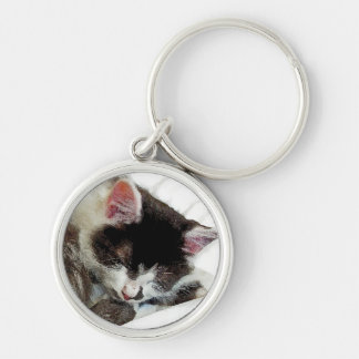 Kitten asleep on White Comforter Silver-Colored Round Keychain