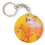 kitten basic round button keychain