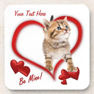 Kitten Be Mine Valentine's Day Cork Coaster
