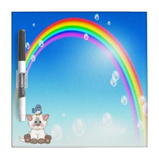 Kitten, Bird & Rainbow Dry Erase Board