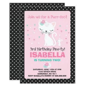 Kitty cat birthday invitations zazzle kitten birthday invitation kitty cat birthday filmwisefo