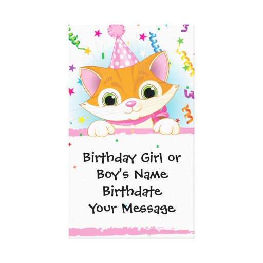 Kitten Birthday Memento Canvas Print