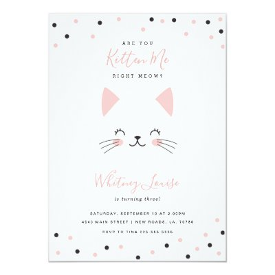 Fancy Cat Turquoise Kids Birthday Party Invitation Zazzle