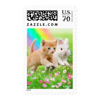 Kitten & Bunny with Rainbow Postage