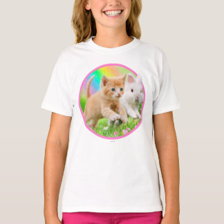 Kitten & Bunny with Rainbow T-Shirt