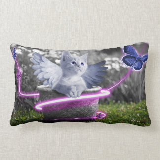 Kitten Butterflies Fantasy Art Lumbar Pillow