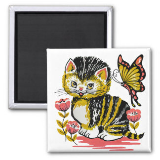 Kitten Butterfly 2 Inch Square Refrigerator Magnet