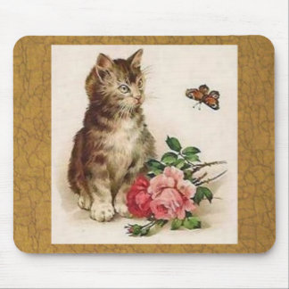 Kitten Butterfly Mouse Pad