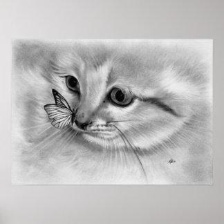 Kitten Butterfly Poster