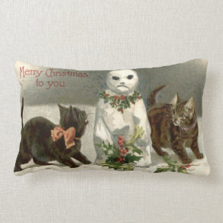Kitten Cat Curious Snowman Holly Wreath Lumbar Pillow