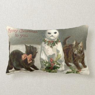 Kitten Cat Curious Snowman Holly Wreath Pillows