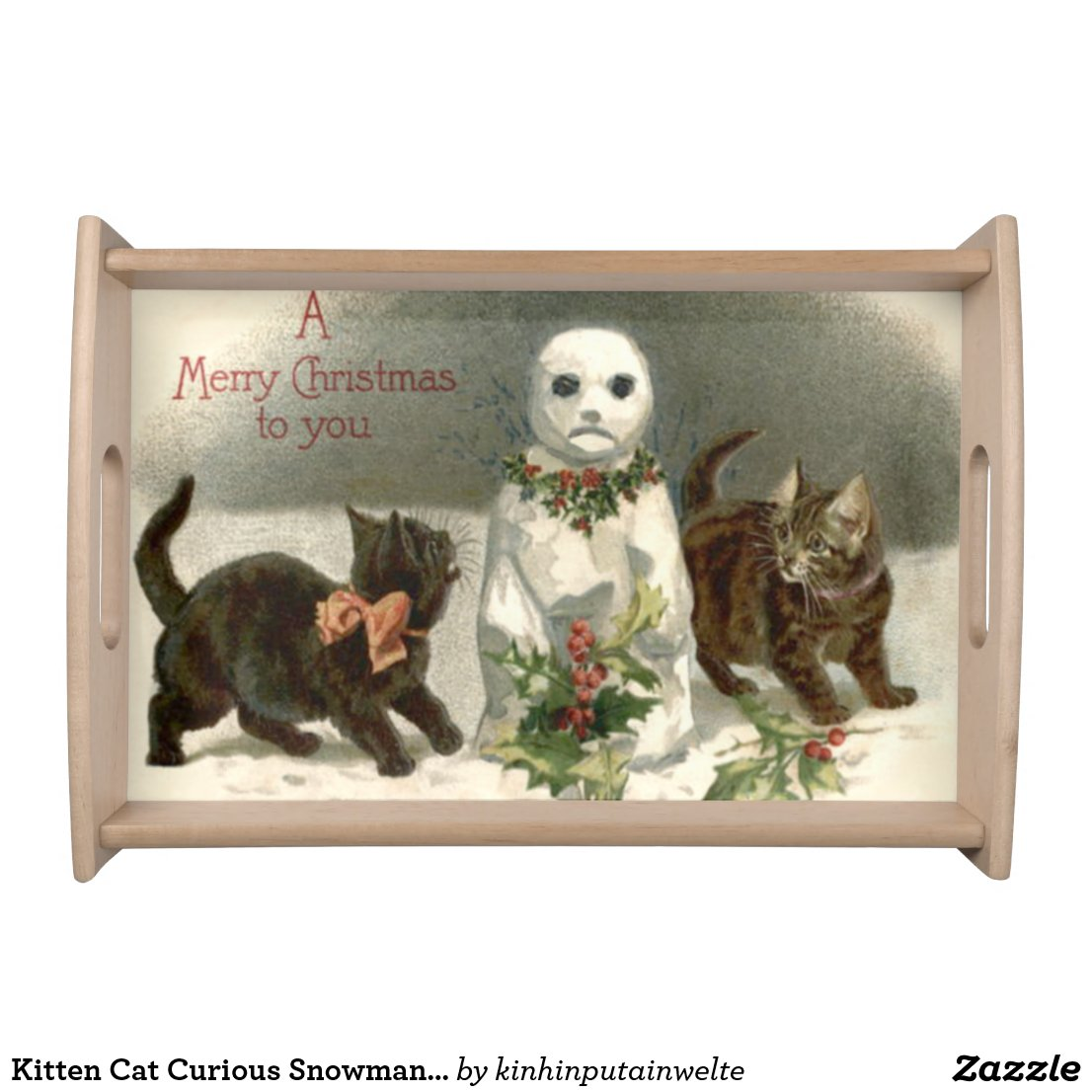 Kitten Cat Curious Snowman Holly Wreath Serving Tray