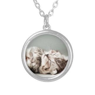 kitten, cat, cute tabby cat, cute cats, cute kitte silver plated necklace