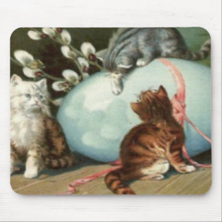 Kitten Cat Easter Colored Painted Egg Mouse Pad