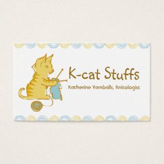 kitten cat knitting needles yarn gift tag card