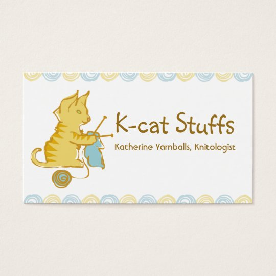 kitten cat knitting needles yarn gift tag card