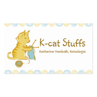 kitten cat knitting needles yarn gift tag card business card