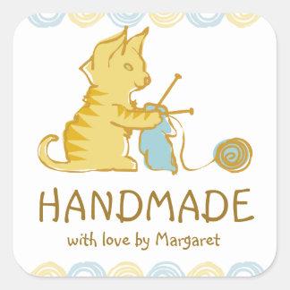 kitten cat knitting needles yarn gift tag label square sticker