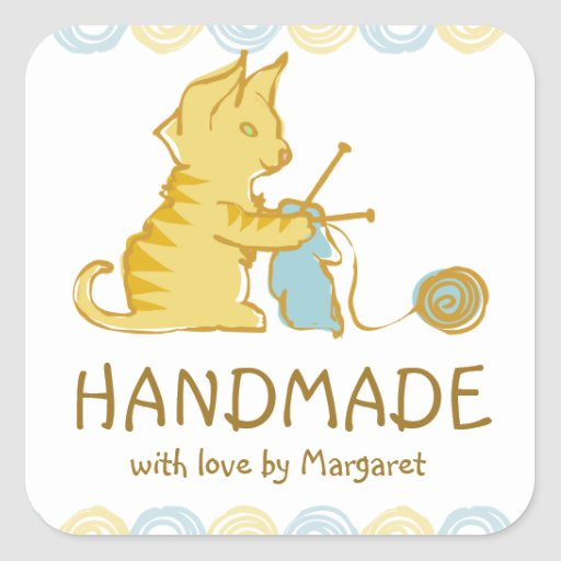 kitten cat knitting needles yarn gift tag label stickers