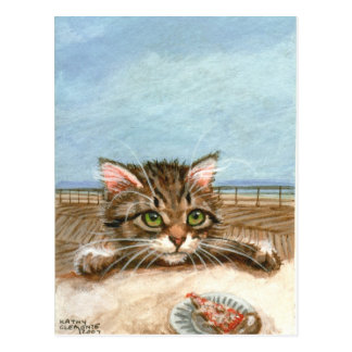 Kitten Cat Pizza Beach Postcard