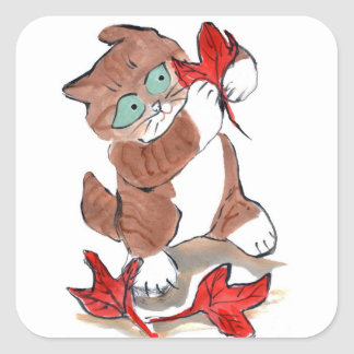 Kitten Catches One of Three Red Maple Leaves Square Sticker