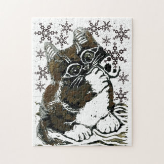 Kitten Catching Snowflakes  Block Print in color Jigsaw Puzzle