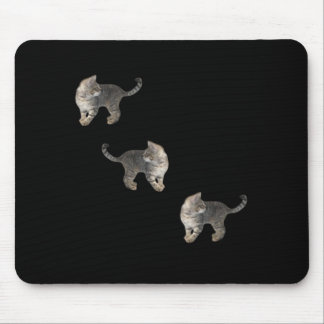 Kitten Chasing Tail Black Mouse Pad