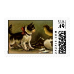 Kitten & Chick Easter Postage Stamp