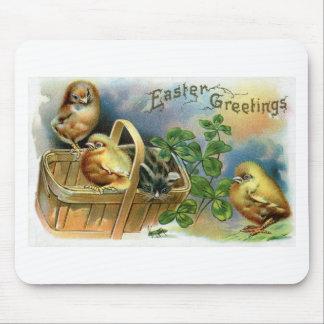 Kitten, Chicks & Clover Vintage Easter Mouse Pad