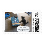 Kitten Christmas Surprise Postage Stamp<br><div class='desc'>An adorable kitten is surprised that Santa didn&#39;t bring her the mouse she requested!</div>