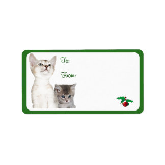 Kitten Christmas Wishes Gift Tag Stickers #2 Personalized Address Label