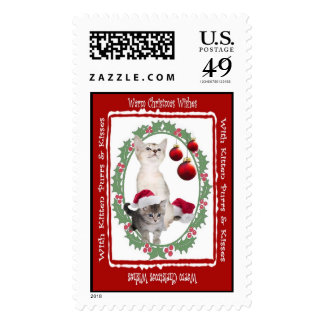 Kitten Christmas Wishes Postage Stamp