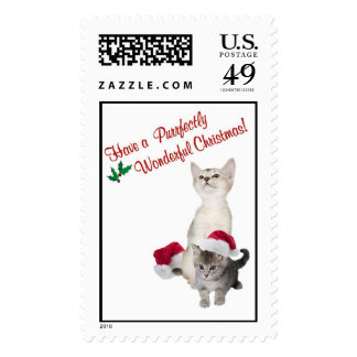 Kitten Christmas Wishes Postage Stamp #3
