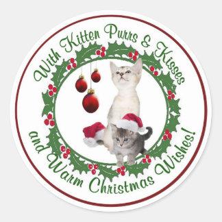 Kitten Christmas Wishes Round Seals